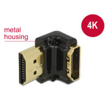 DeLock Adapter High Speed HDMI with Ethernet – HDMI-A female > HDMI-A male 4K 90° angled down Black