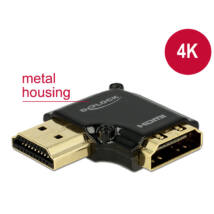 DeLock Adapter High Speed HDMI with Ethernet – HDMI-A female > HDMI-A male 4K 90° angled left Black