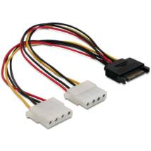 DeLock Cable Power SATA 15pin > 2x 4pin Molex female 20cm