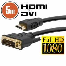 Delight DVI-D (Dual Link) - HDMI kábel 5m Black aranyozott