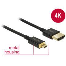 DeLock Cable High Speed HDMI Ethernet - HDMI-A male> HDMI Micro-D dugó 3D 4K 1,5 m Slim High Quality