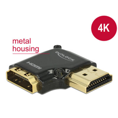 DeLock Adapter High Speed HDMI with Ethernet – HDMI-A female > HDMI-A male 4K 90° angled right Black