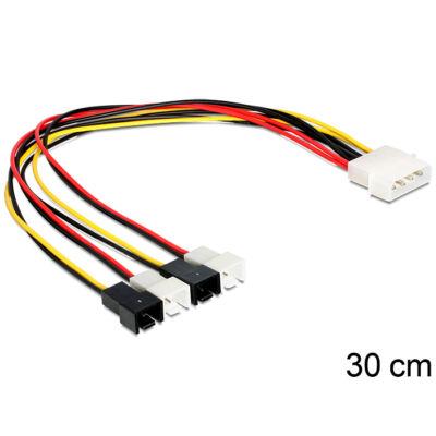 DeLock Cable power Molex 4 pin male > 4x 2 pin fan