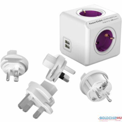 Allocacoc PowerCube ReWirable with USB White/Purple