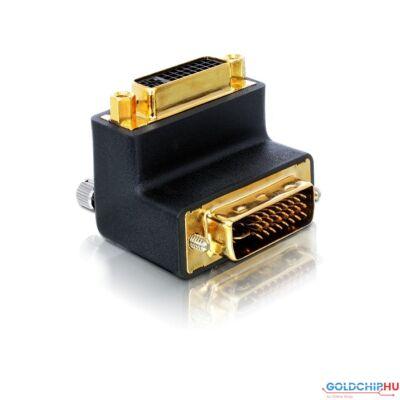 DeLock DVI-I (Dual Link) male-female right angled Adapter
