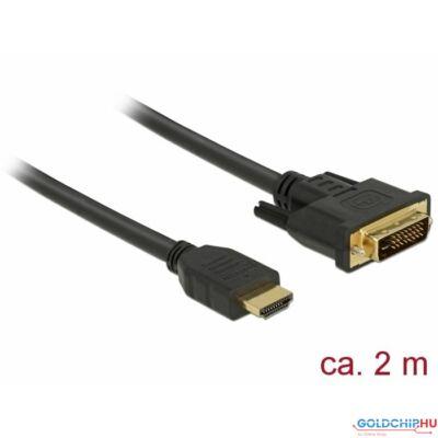 DeLock HDMI to DVI 24+1 cable bidirectional 2m Black
