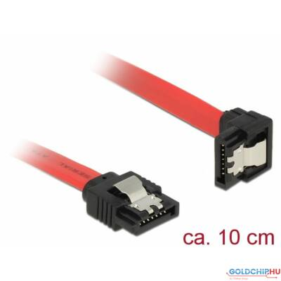 DeLock SATA 6 Gb/s male straight > SATA male downwards angled 10 cm red metal cable