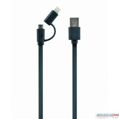Gembird CC-USB2-AMLM2-1M USB charging combo cable 1m Black