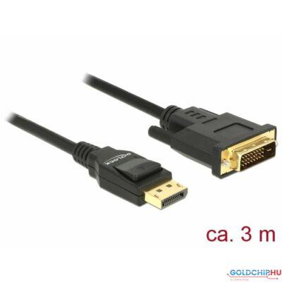 DeLock Displayport 1.2 male > DVI-D (Single Link) male passive 3m Black Cable