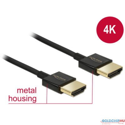 DeLock HDMI-a male > HDMI-a male 3D 4K slim premium with ethernet 2m Black