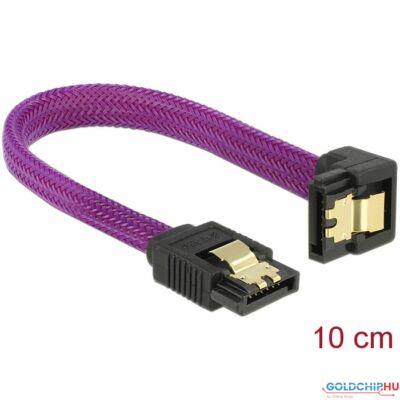 DeLock SATA cable 6Gb/s 10cm down/straight metal Premium Purple