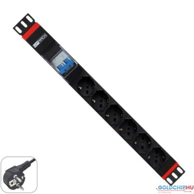 "WP Multiple Socket for rack 19""– 6 Italian/Schuko sockets  with 2P circuit braker 1A/60A, 1 unit  - Schuko Plug"