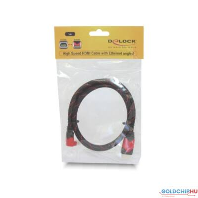 DeLock Cable High Speed HDMI with Ethernet HDMI A male > HDMI A male angled 4K 1m
