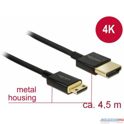 DeLock High Speed HDMI with Ethernet - HDMI-A male > HDMI Mini-C male 3D 4K 4,5m Active Slim High Quality Cable