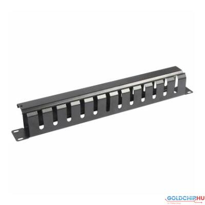 WP 2U horizontal cable managment panel with Black cover RAL 9005, 483x88mm