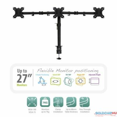 """Ewent EW1513 Desk Mount for 3 monitors up to 27"""" with VESA"""