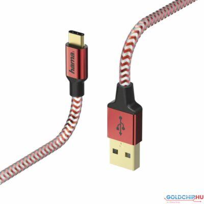 "Hama ADATKÁBEL USB TYPE-C ""REFLECTIVE"" 1,5M, PIROS"