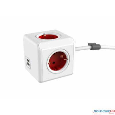 Allocacoc PowerCube Extended with USB 1,5m White/Red