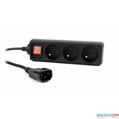 Gembird EG-PSU3F-01 UPS power strip 3 FR sockets fused switch C14 plug 0,6m cable black